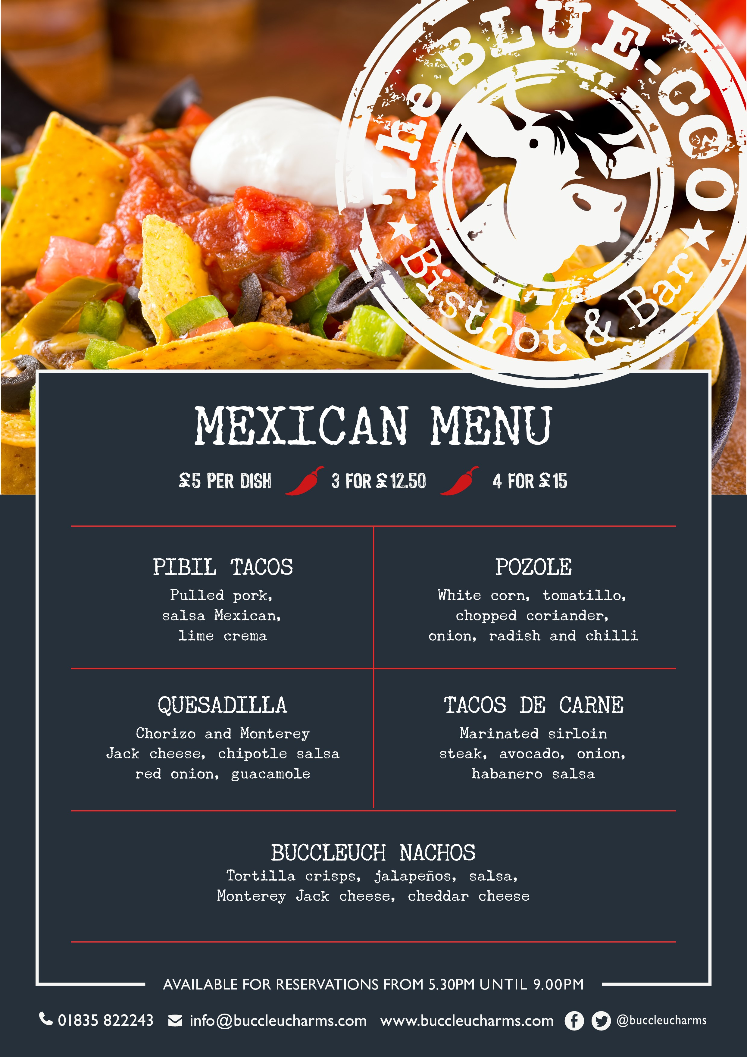 Mexican Tapas Night Menu